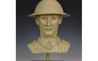 A bespoke plaster bust of a British Army soldier, wearing an...