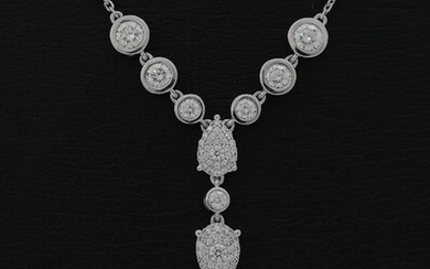 A diamond necklace set with numerous diamonds weighing a total of app. 1.70 ct., mounted in 18k white gold. L. app. 44.5 cm. – Bruun Rasmussen Auctioneers of Fine Art