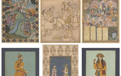 A group of five Indian paintings, 20th century and a print of a Safavid miniature, opaque pigments on paper, comprising Shah Jahan and Mumtaz Mahal within a floral border; a standing portrait of Shah Jahan; a standing portrait of Mumtaz Mahal; a...