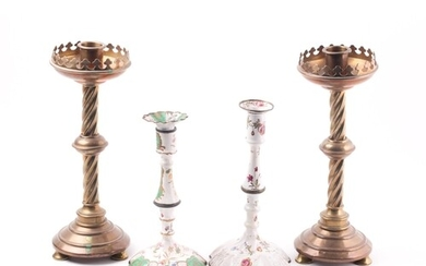 A pair of 19th-century brass candlesticks, in the Gothic Rev...