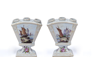 A pair of Continental pottery tulip vases