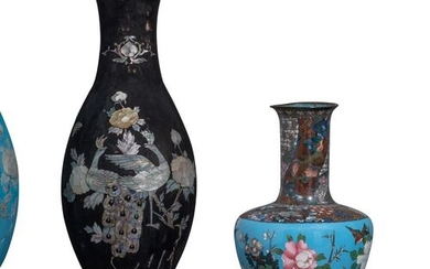 A pair of Japanese cloisonné enamel bronze vases, decorated with...