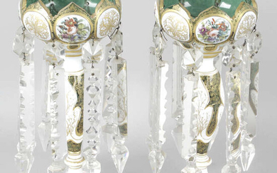 A pair of late 19th century overlaid and green lustre vases.