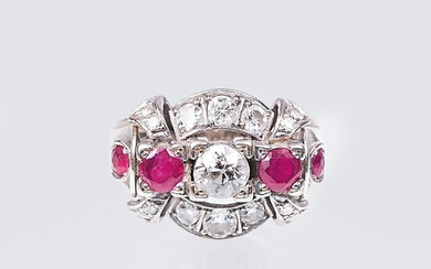 An Art-déco Ring with Diamonds and Rubies.