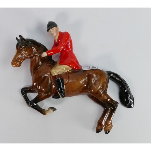 Beswick wall plaque as huntsman on jumping horse:1505.
