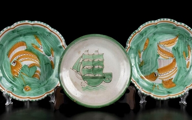 CAS Three green plates with fishes and sailing ship decoration...