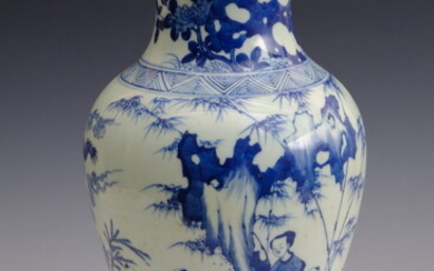 CHINESE BLUE AND WHITE PORCELAIN BALUSTER-FORM VASE. Decorated with figures...