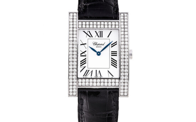 CHOPARD, WHITE GOLD WITH DIAMOND-SET RETANGULAR WRISTWATCH