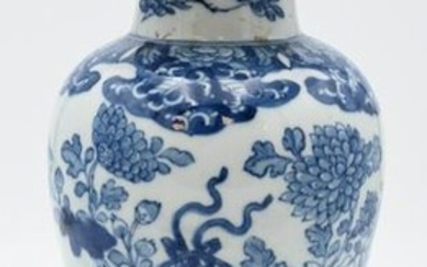 Chinese Blue and White Covered Jar, having painted