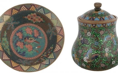 Chinese Cloisonné Footed Bowl & Covered Jar