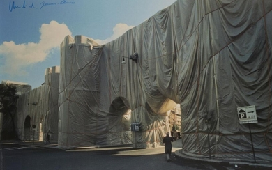 Christo and Jeanne-Claude, American 1935-2020 and 1935-2009- The Wall Wrapped Roman Wall, 1974; offset lithographic poster in colours on wove, signed by both artists in blue pencil, photograph Harry Shunk, sheet 95 x 64cm (framed) (ARR)
