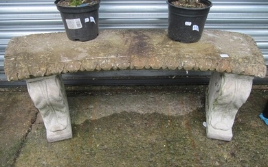 Curved Concrete Garden Bench.