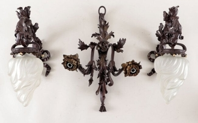 FRENCH HEAVY CAST BRONZE WALL SCONCE SET