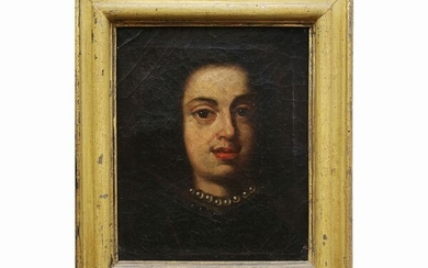 Female bust in a black dress and pearl necklace, Scuola toscana del XVII secolo