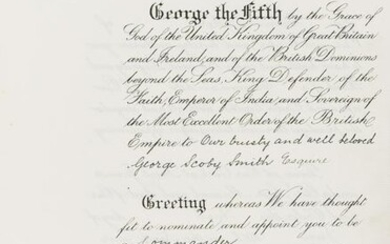 George V (King) Grant to George Scoby-Smith of a CBE