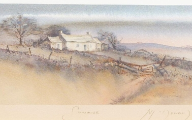 Gillian McDonald, British, late 20th/early 21st century- Coastal Cottage and Sunrise; two lithographs in colours on wove, each signed, titled and numbered 448/850 and 262/650 respectively in pencil, each image 11.5 x 21cm (framed) (2) (ARR)