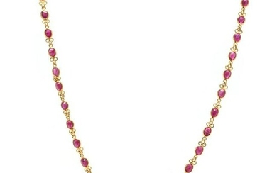 Gold and Ruby Station Necklace
