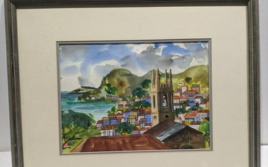 Grover Chapman Mountain Town Watercolor Painting