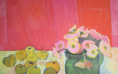 HELGA RADENER-BLASCHKE. Helga Radener-Blaschke, fine art print on canvas, 'Flowers and fruits in front of a red wall'.
