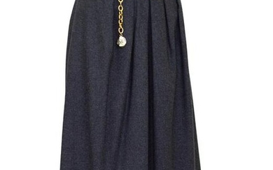 Hermes Grey Wool and Cashmere Midi Skirt