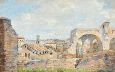 NOT SOLD. Johannes Wilhjelm: View from the Palatine Hill in Rome. Signed and dated J. W. 14. Oil on canvas. 55 × 75.5 cm. – Bruun Rasmussen Auctioneers of Fine Art