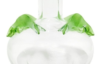Lalique vase, body in transparent glass with vegetable