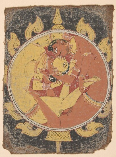 Lovers in the Mirror, Orissa, 18th century, opaque watercolour on cotton, the figures depicted in an embrace, 20 x 15cm. Two lovers are entwined together in a passionate embrace, their limbs and serpentine bodies fused together into a fiery circle...