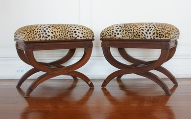 PAIR OF NEOCLASSICAL STYLE X-BASE BENCHES