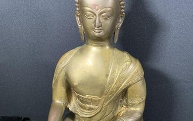 Painted & Etched Metal Seated Buddha Sculpture