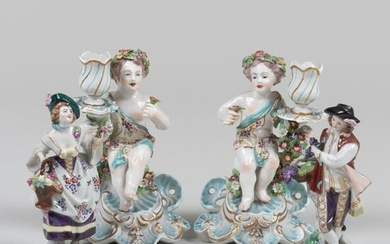 Pair of Chelsea Style Porcelain Figural Candlesticks
