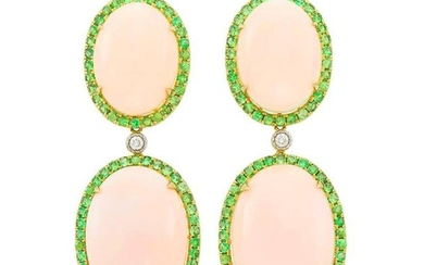 Pair of Gold, Angel Skin Coral and Green Garnet