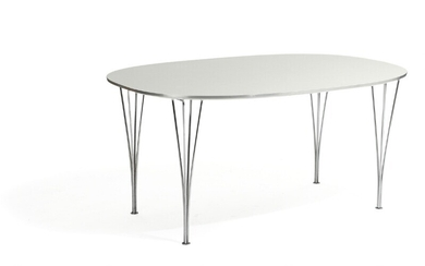 Piet Hein, Bruno Mathsson: Dining table with steel legs and white laminate top. H. 71....