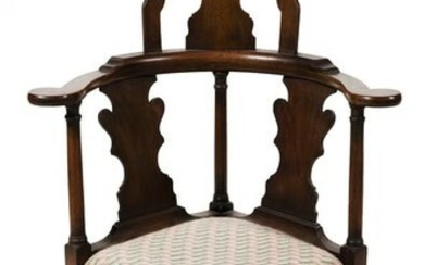 QUEEN ANNE-STYLE HIGH-BACK CORNER CHAIR Early 20th