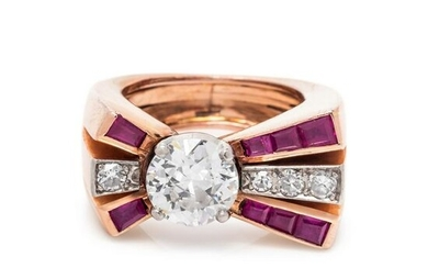 RETRO, DIAMOND AND SYNTHETIC RUBY RING