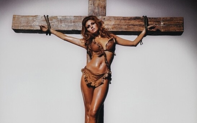 Raquel Welch On The Cross, Los Angeles, 1966, Terry O'Neill