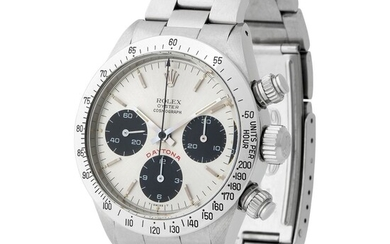 "Rolex. Highly Attractive and Very Rare Daytona Chronograph Wristwatch in Steel, Reference 6265, With Silver ""Big Red"" Dial"