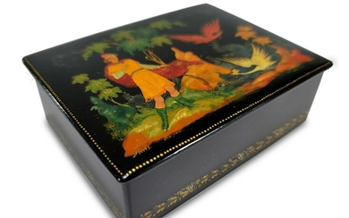 Russian lacquer painted box, signed and dated 1967