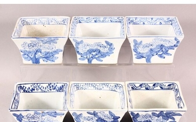 SIX DECORATIVE CHINESE BLUE AND WHITE SQUARE FORM BOWLS, eac...