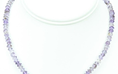 Sterling Silver & Hand Cut Amethyst Bead Necklace