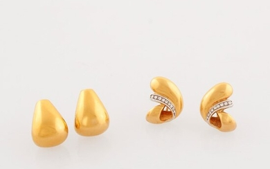 TWO PAIR OF DIAMOND AND GOLD EARRINGS