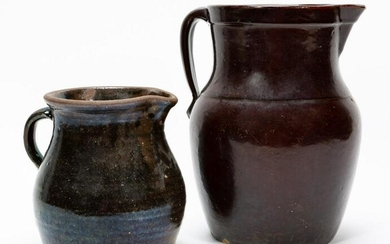 TWO SOUTHERN POTTERY PITCHERS, GLAZED EARTHENWARE