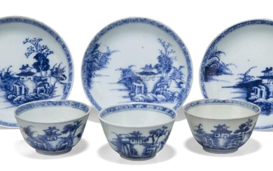 Three pairs of Chinese porcelain blue and white 'pagoda' teabowls and saucers excavated from the Nanking Cargo, 18th century, each painted with a pagoda on an island, 6.3cm-10.1cm diameter (6) Provenance: With Christie's Nanking Cargo paper labels...