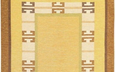VINTAGE SWEDISH FLATWOVEN CARPET DESIGNED BY INGEGERD SILOW, SIGNED 'IS'. 9 ft 2 in x 6 ft 5 in (2.79 m x 1.96 m).