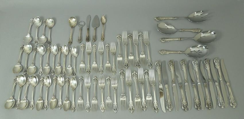 Wallace Grand Baroque Sterling Flatware, 69 Pieces.