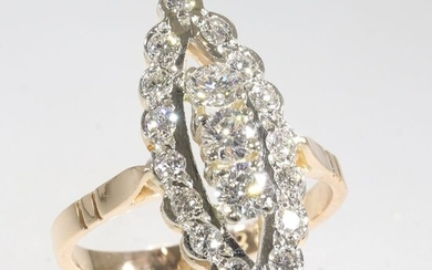 14 kt. Pink gold, White gold - Ring - Diamonds, Total diamond weight 1.40 crt, Natural (untreated), Free resizing*