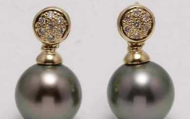 14 kt. Yellow Gold - 10x11mm Round Tahitian Pearls