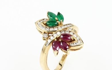 18 kt gold ring with coloured stones...