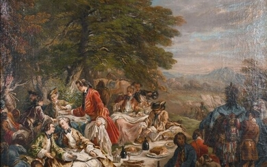 18th Century French School. Figures at a Garden Banquet, Oil...