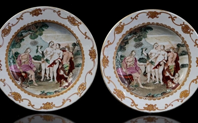 (-), 2 porcelain dishes with classic decor inspired...