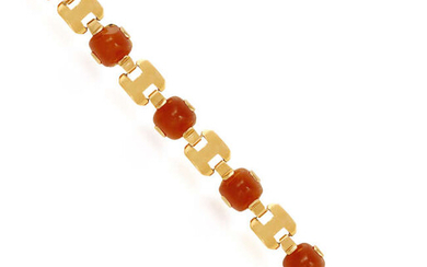 A CARNELIAN AND GOLD BRACELET, BY GEORGES LENFANT,...